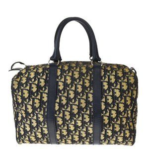 Christian Dior Trotter Pattern Hand Bag Canvas Lea
